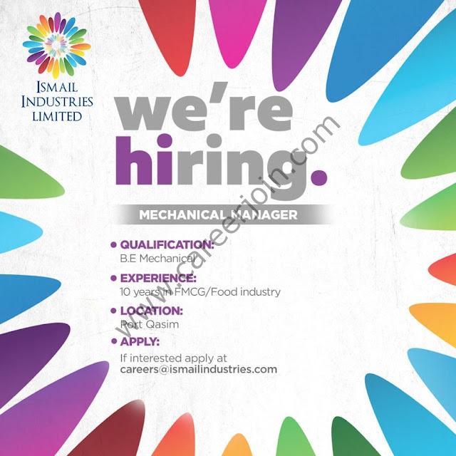 Ismail Industries Ltd Jobs Mechanical Manager 2021