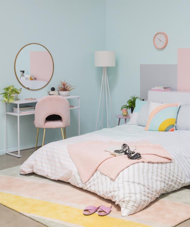 Desain Kamar Tidur Remaja Kekinian Warna Pastel
