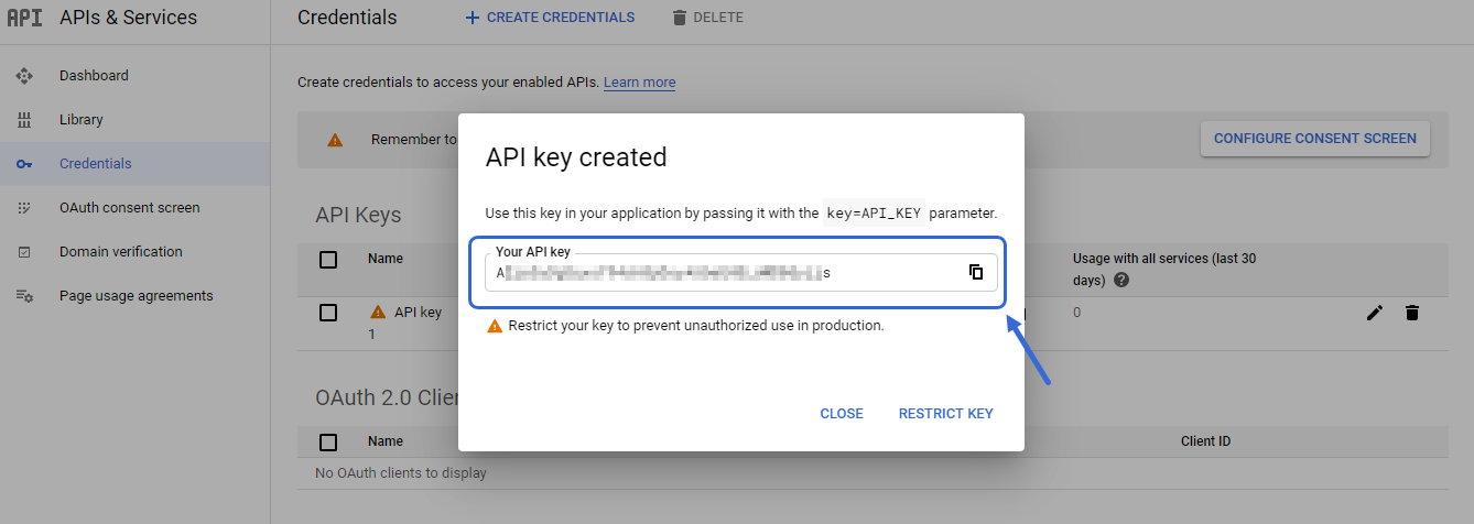 Copy your API Key to your Notepad.