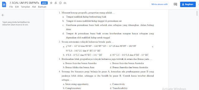 Contoh Latihan Soal Ujian Madrasah (UM) IPS MTs