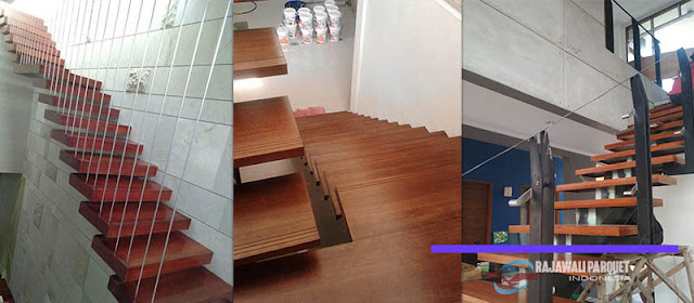 papan tangga kayu Gantung terpasang