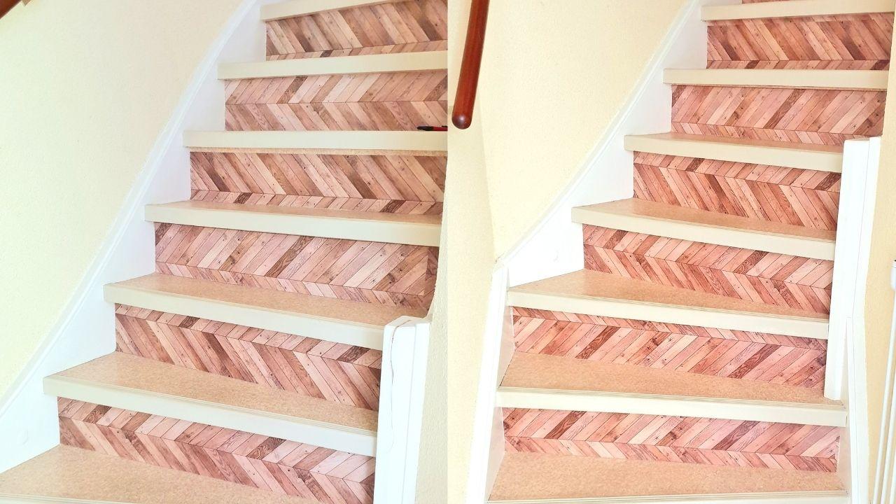 naklejki na schody drewniane