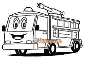 Gambar Mewarnai Mobil Kebakaran Lengkap dengan Petugas dan Atributnya