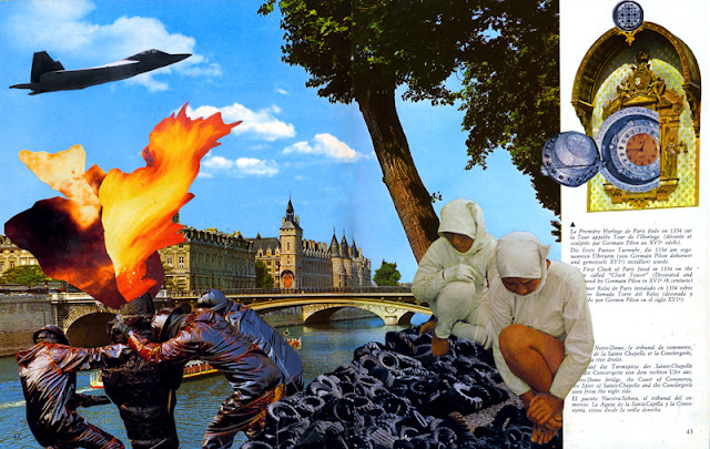 Collage from altered Paris guidebook