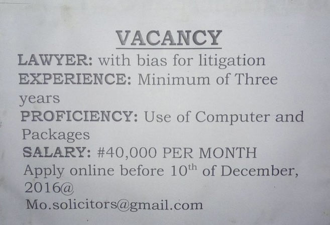Check out the vacancy poster that was spotted in Port Harcourt today