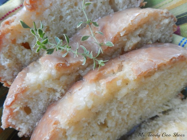 Lemon Thyme Pound Cake - A hint of Lemon Thyme in the pound cake adds a terrific flavor. Perfect with a cup of tea!  Ms. Toody Goo Shoes