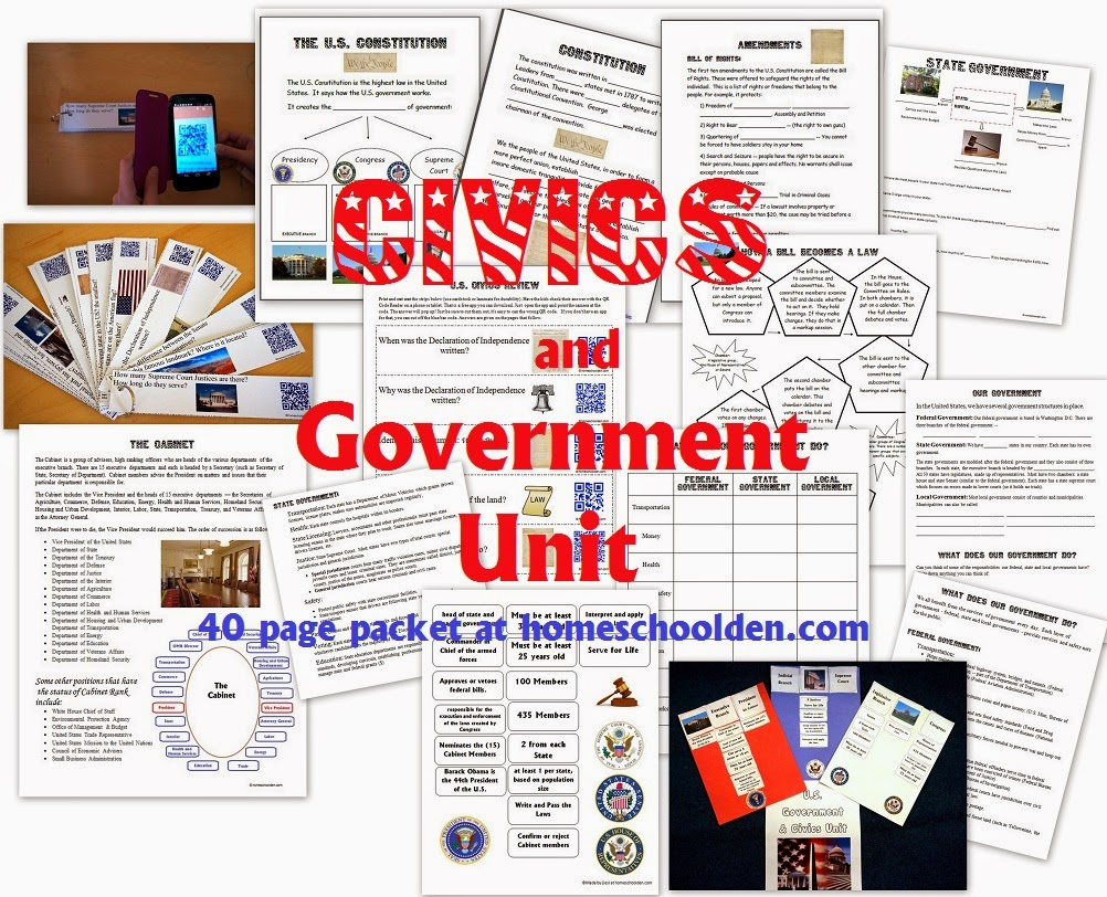 http://homeschoolden.com/2015/03/30/civics-and-government-constitution-worksheets/