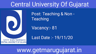 cug recruitment, Central University of gujarat recruitment