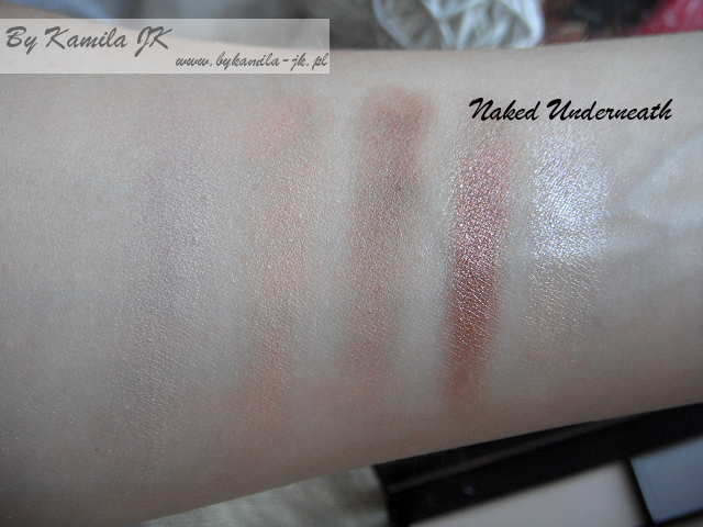 Makeup Revolution paleta cieni z sercem Naked Underneath swatche