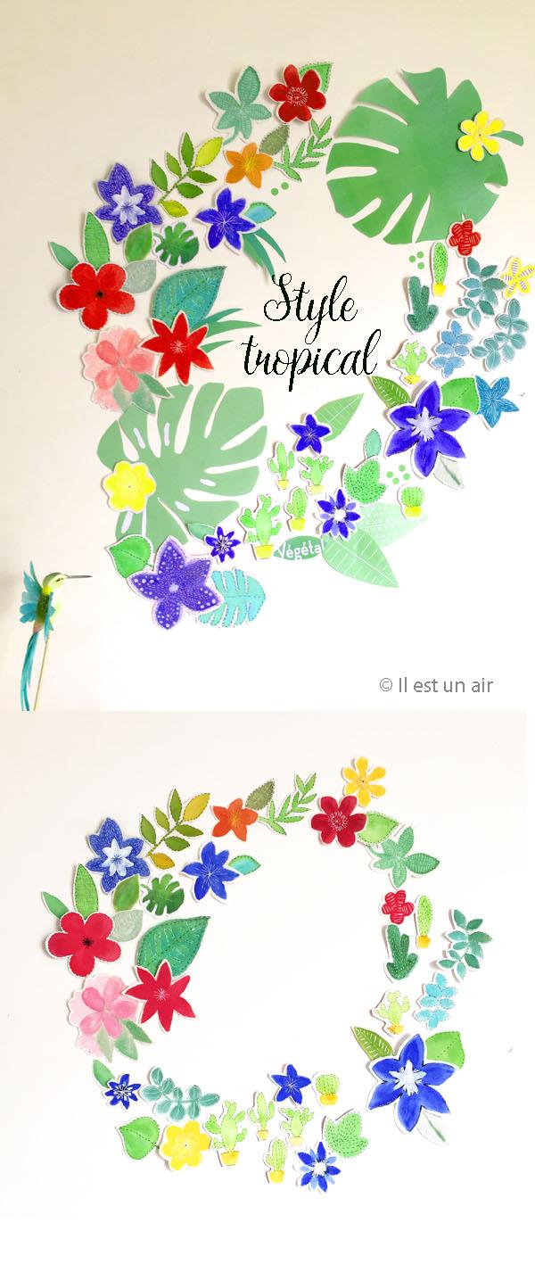 Acccrochage de feuilles et fleurs textiles