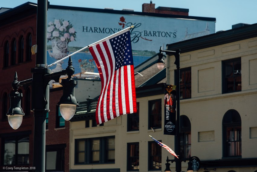 Portland, Maine USA July 2018 photo by Corey Templeton. The Stars and Stripes flying in Congress Square this Independence Day morning.