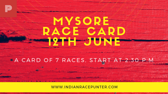 Mysore Race Card 12th June, Trackeagle, Racingpulse