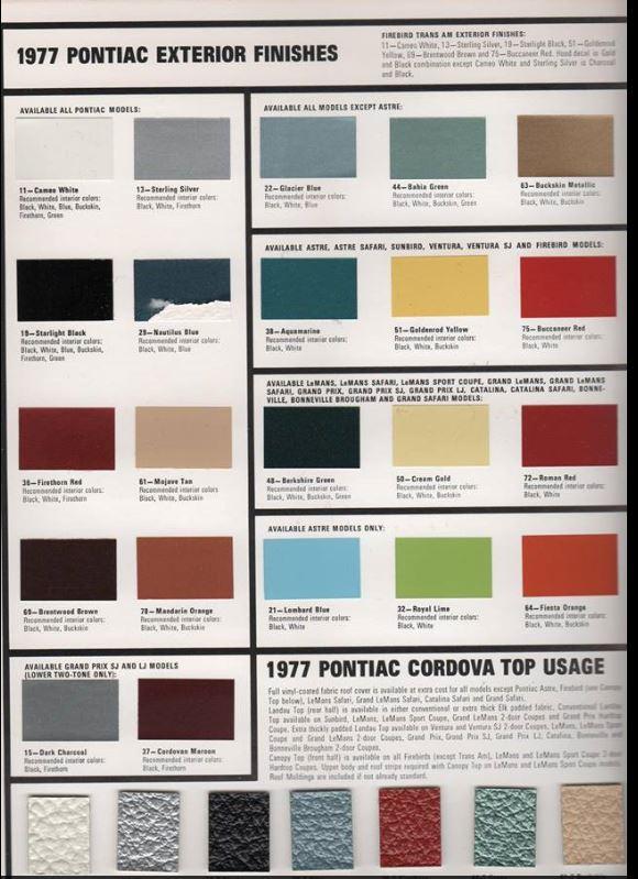 trans am interior color codes. Black Bedroom Furniture Sets. Home Design Ideas