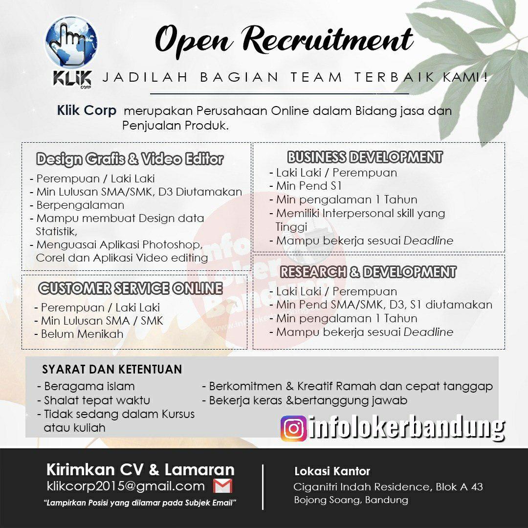 Lowongan Kerja Klik Corp Bandung November 2019