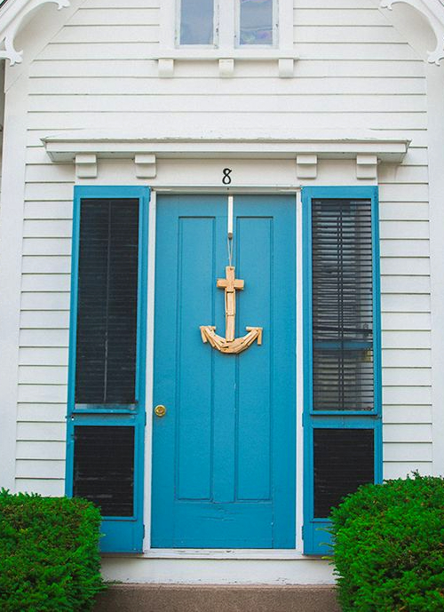 Blue Nautical Front Door with Anchor