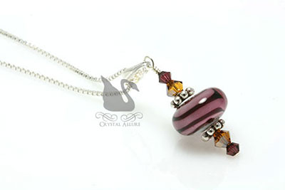Raspberry Mocha Crystal Lampwork Pendant Necklace (P03)
