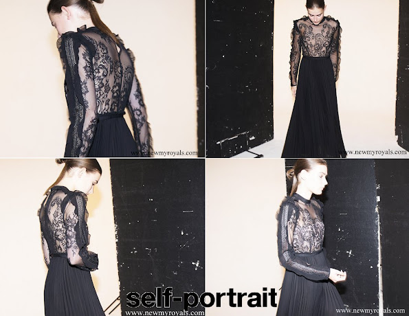 Princess Madeleine wore Self-Portrait Moni black Lace and Pleated Crepe Maxi Dress