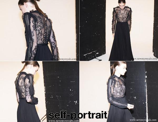 5dc9e21aa7722 Princess Madeleine wore Self-Portrait Moni black Lace and Pleated Crepe Maxi  Dress