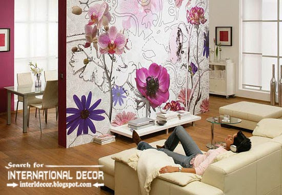relaxing wall murals wallpaper, wall covering ideas, flowers wall mural