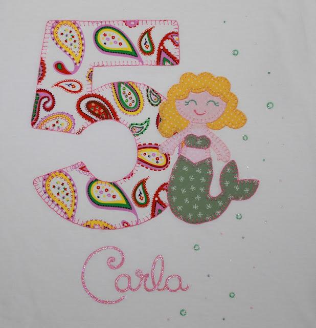 camiseta de cumpleaños sirena 5 años
