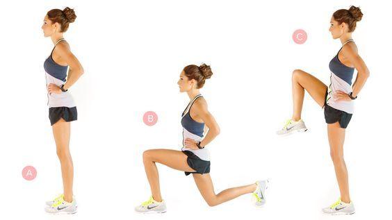 تمرين Reverse Lunges With Knee Lifts