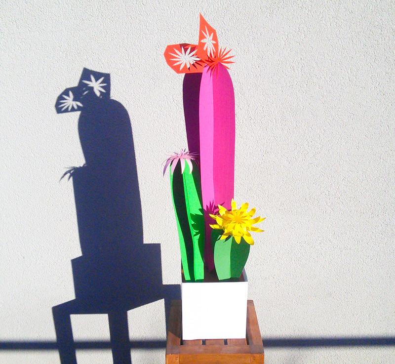 cactus en papier découpé