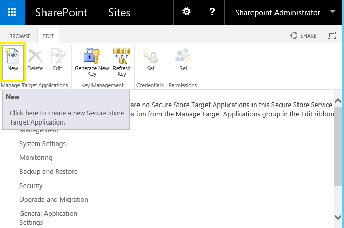 Create Target Application ID in Secure Store Service for BCS