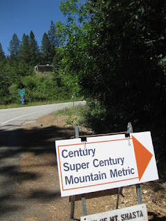 Century / Super Century / Mountain Metric sign pointing to the on-ramp to Interstate 5, near Castle Crags State Park, California