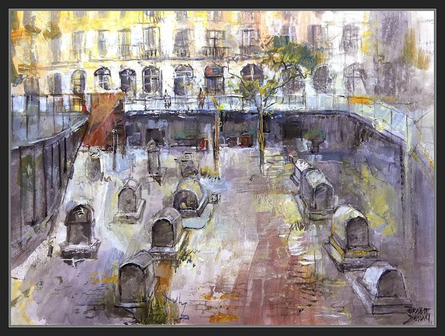 BARCINO-ART-PINTURA-TOMBES ROMANES-BARCELONA-PLAÇA DE LA VILA DE MADRID-HISTORIA-ROMA-VIA SEPULCRAL-PINTOR-ERNEST DESCALS