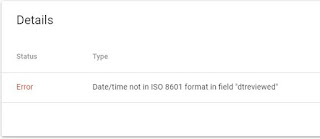 Date time not in ISO 8601 format in field itemreviewed