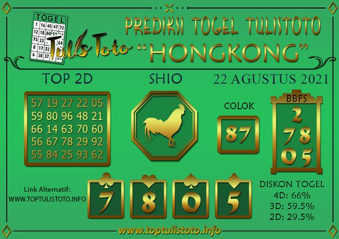 Prediksi Togel HONGKONG TULISTOTO 22 AGUSTUS 2021