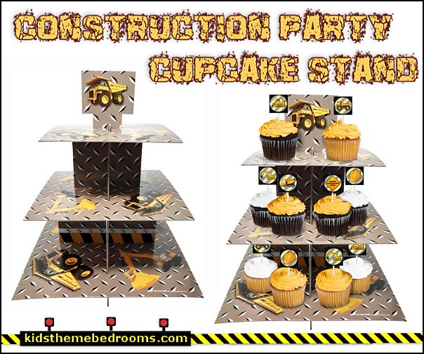 Construction Party Cupcake Stand    Construction party ideas - construction party decorations - digger construction party props - Dump Truck Party Decorations - crane construction theme party - work truck decorations - Digger Zone Boys Birthday Party -