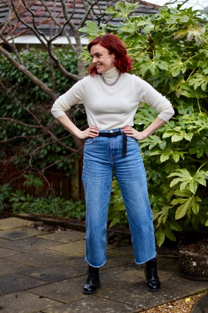 Cropped Wide Leg Jeans, Navy, Cream and DMs * Over 40 Style