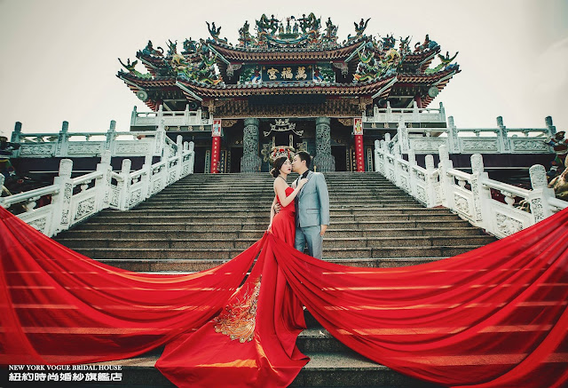 red flowy gown