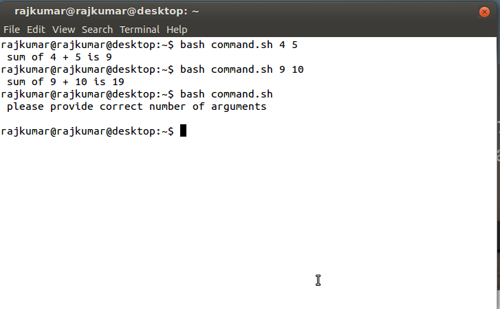 Shell Script to find the sum of two numbers supplied as command line argument