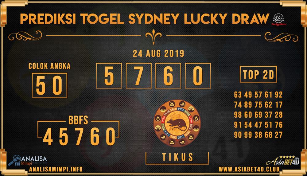 PREDIKSI TOGEL SYDNEY LUCKY DRAW 24 AUG 2019