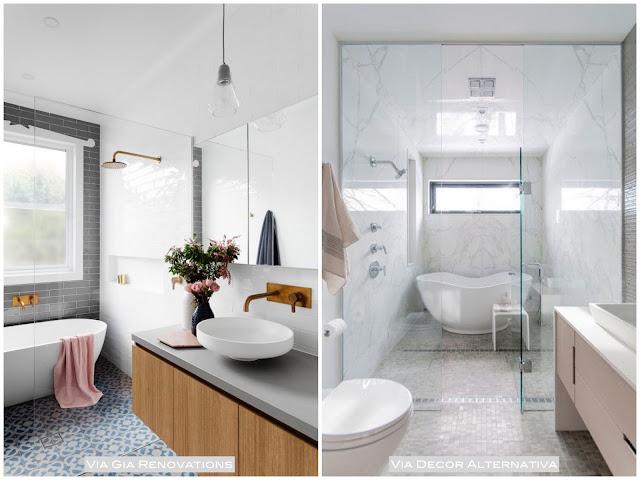 modelo de banheiro com banheira