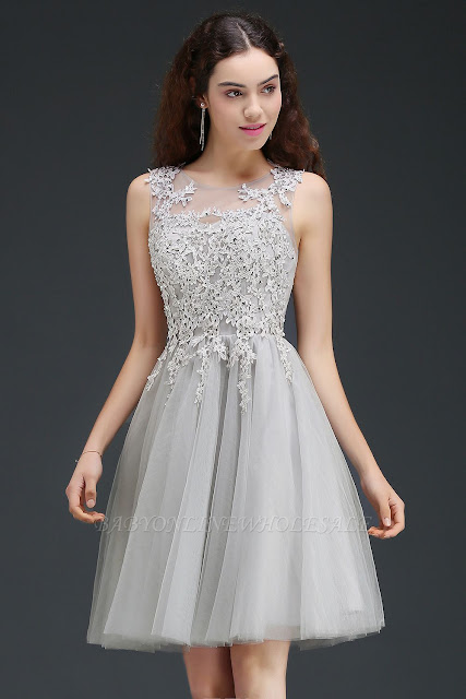A-line Short Modern Homecoming Dress With Lace Appliques