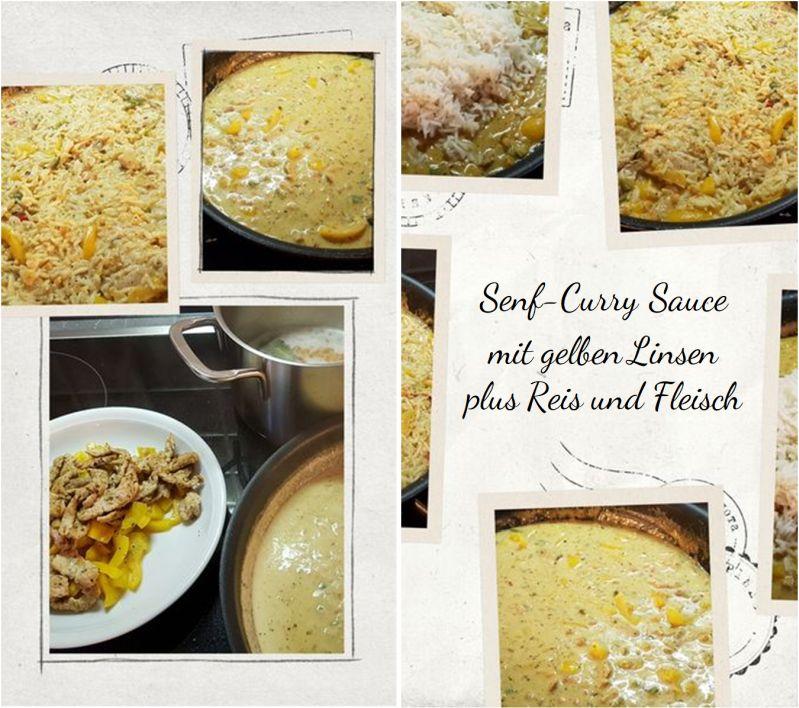 Senf-Curry Sauce  mit gelben Linsen  plus Reis und Fleisch