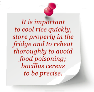 warning about reheating rice, avoiding bacillus cereuus