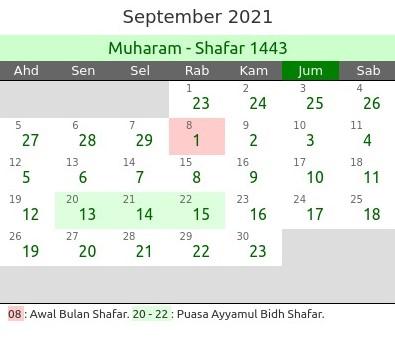 Kalender Hijriyah September 2021 dan Peristiwanya