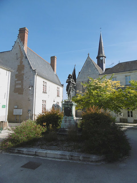 Church in Sainte Catherine de Fierbois, with statue of Joan of Arc. Indre et Loire, France. Photo by Loire Valley Time Travel.