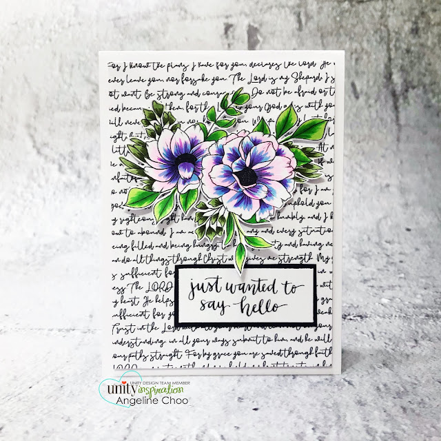 ScrappyScrappy: Unity Stamp May Release - Say Hello #scrappyscrappy #unitystampco #cardmaking #papercraft #handmadecard #stamping #rubberstamp #sayhello #afaithfulletter #scriptybackground #backgroundstamp #oneofthosepeople #floralstamp #floralart #copiccoloring