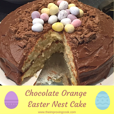 Chocolate orange Easter nest cake with a slice taken out