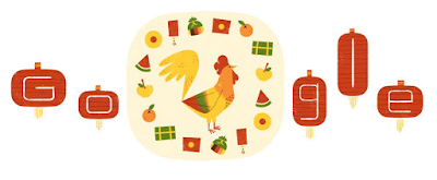 Lunar New Year, Chinese New Year, the year of the Rooster, Google doodle,