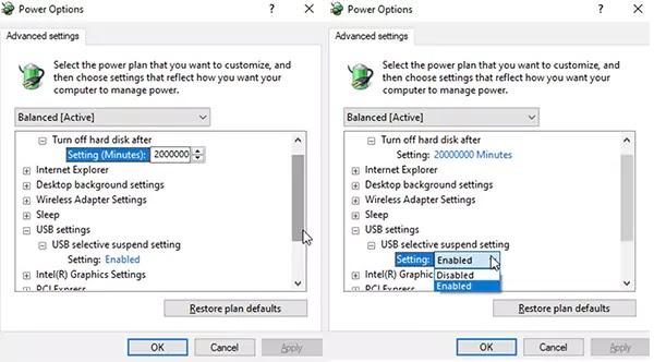 خيارات الطاقة Windows