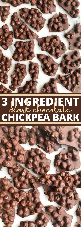 3-Ingredient Dark Chocolate Chickpea Bark #easy #healthy #glutenfree #dairyfree #vegan
