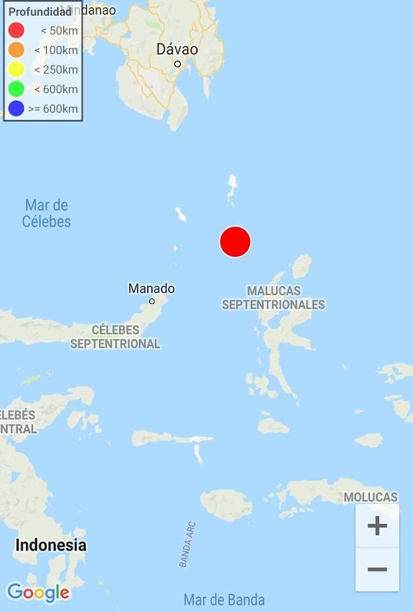 Fuerte terremoto se registra en el Mar de Molucas, Indonesia!