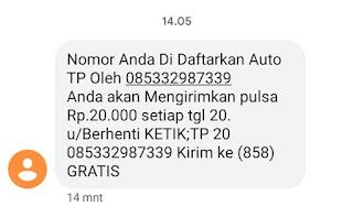Nomor Anda Didaftarkan Auto TP oleh Nomor