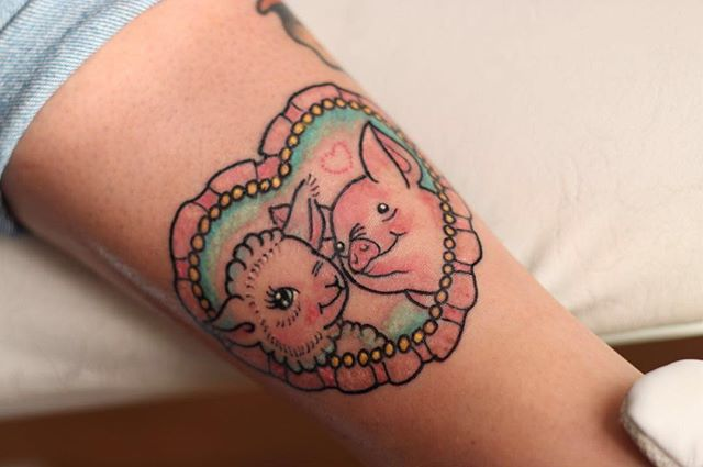 pig and cow tattoo